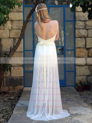 Fashion Lace Chiffon V-neck Ivory Straps Open Back Wedding Dress #PWD00021483