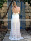 Fashion Lace Chiffon V-neck Ivory Straps Open Back Wedding Dress #PWD00021483