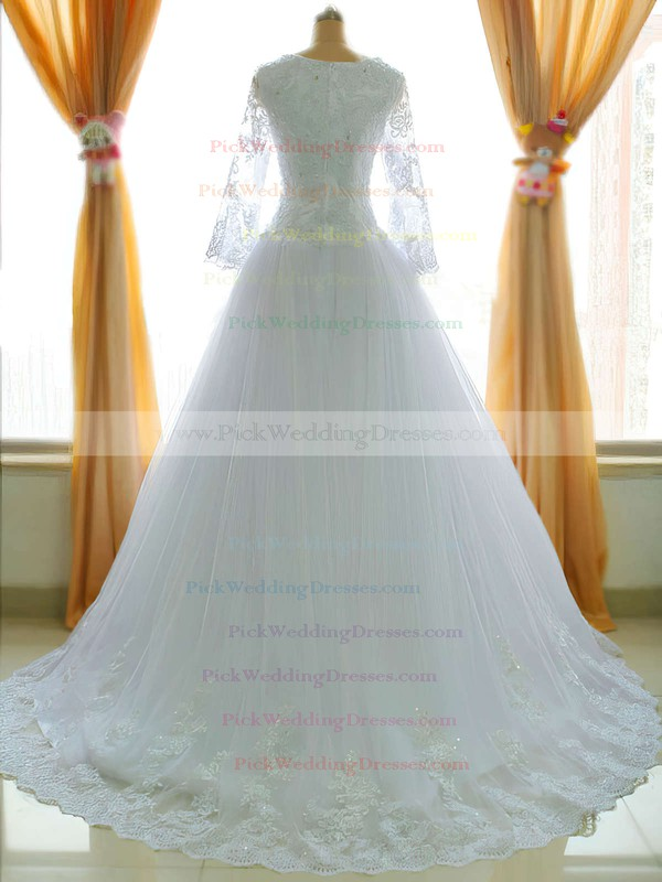 Classic Princess Tulle Square Neckline Appliques Lace Long Sleeve  Chapel Train Wedding Dress #PWD00021485