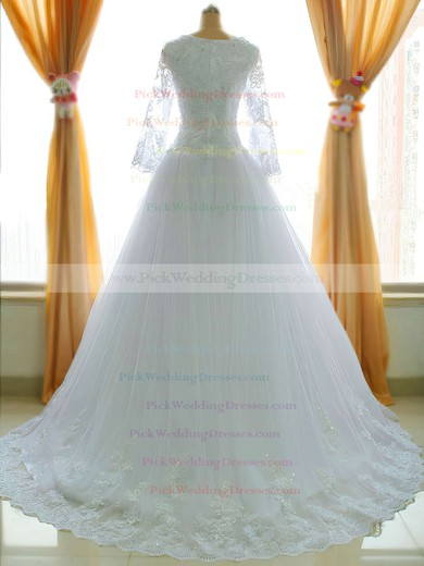 Classic Princess Tulle Square Neckline Appliques Lace Long Sleeve  Chapel Train Wedding Dress #PWD00021485