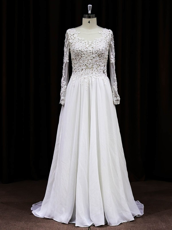 Long Sleeve Scoop Neck White Chiffon Tulle Appliques Lace Sweep Train Wedding Dress #PWD00021488