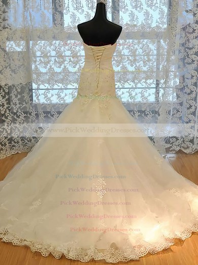 Boutique Trumpet/Mermaid Satin Tulle Appliques Lace and Lace-up Sweetheart Wedding Dresses #PWD00021489