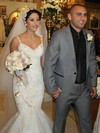 Sweetheart White Tulle Appliques Lace Straps Trumpet/Mermaid Wedding Dresses #PWD00021490