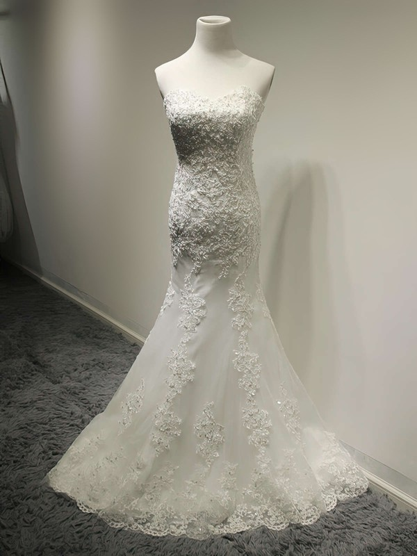 Expensive Sweetheart Ivory Lace with Sequins Lace-up Trumpet/Mermaid Wedding Dress #PWD00021491