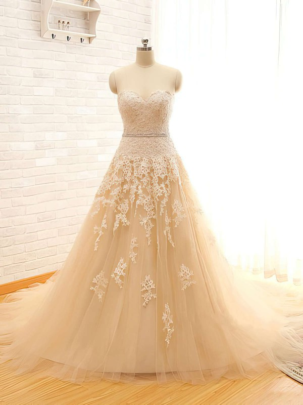 Sweetheart Champagne Tulle Appliques Lace Chapel Train Wedding Dresses #PWD00021496