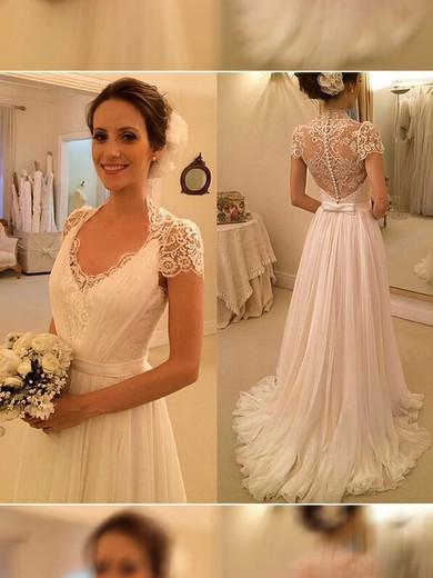 e936190592 Ivory Chiffon with Appliques Lace V-neck Short Sleeve Sweep Train Wedding  Dress  PWD00021497