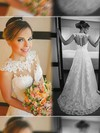 White Lace Scoop Neck Court Train Appliques Stunning Wedding Dress #PWD00021498
