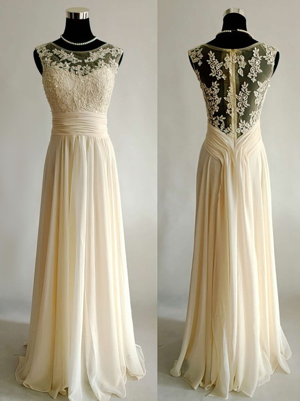 Floor-length Scoop Neck Appliques Lace Chiffon Tulle Champagne Wedding Dress #PWD00021499