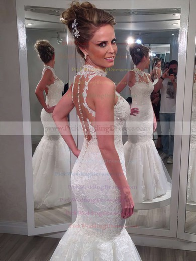 Lace Tulle Trumpet/Mermaid White Appliques Glamorous High Neck Wedding Dresses #PWD00021502