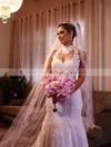 Sparkly Trumpet/Mermaid Ivory Lace Tulle Sequins High Neck Wedding Dress #PWD00021503
