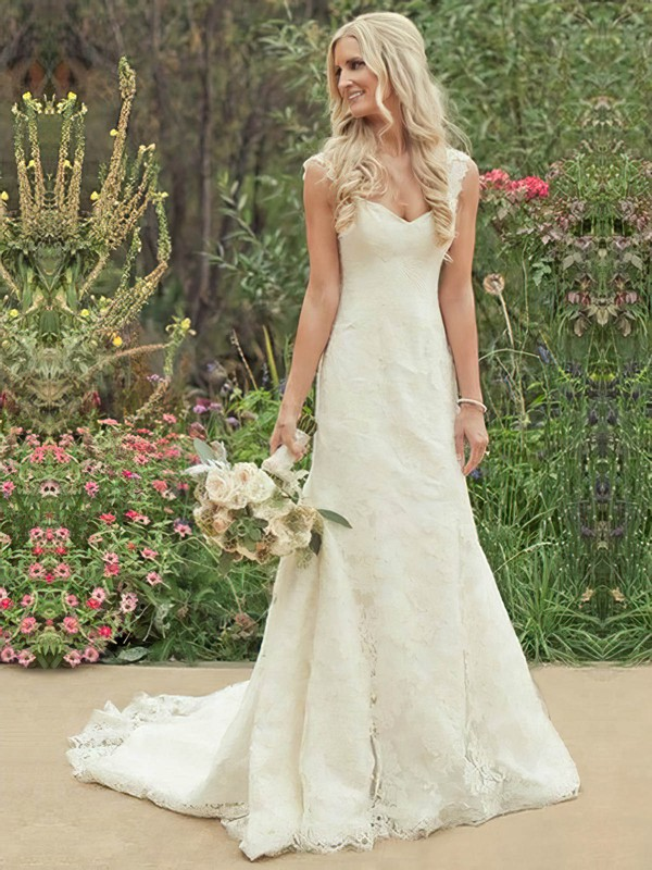 A-line Court Train Lace Satin Appliques Lace Sweetheart Wedding Dresses #PWD00021504
