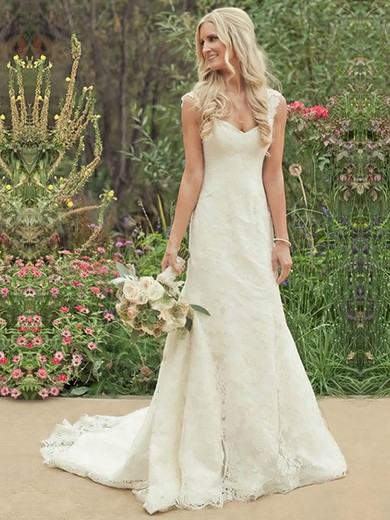 Classic Sheath/Column Straps Sweetheart Buttons Ivory Lace Wedding Dress #PWD00021504