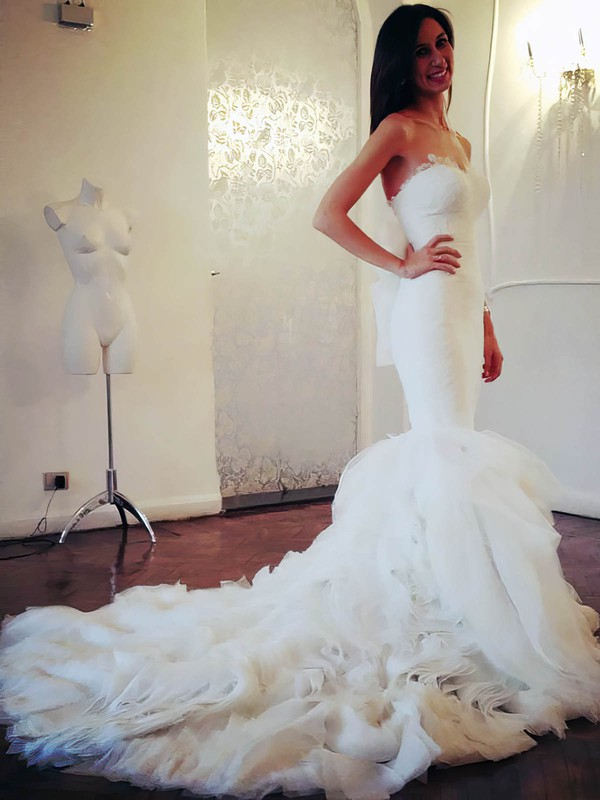 Amazing Chapel Train Ivory Organza Tiered Trumpet/Mermaid Wedding Dresses #PWD00021505