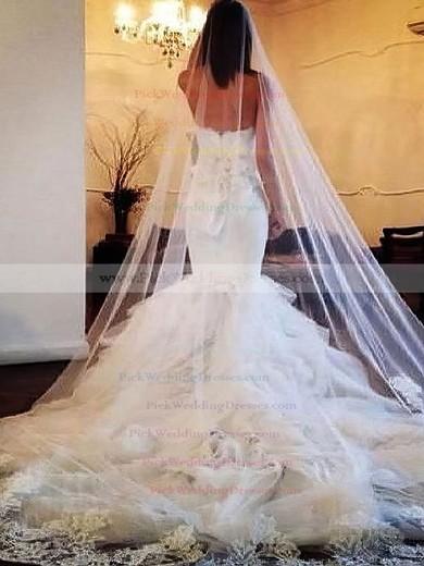 Amazing Chapel Train Ivory Organza Tiered Trumpet/Mermaid Wedding Dresses #PWD00021505