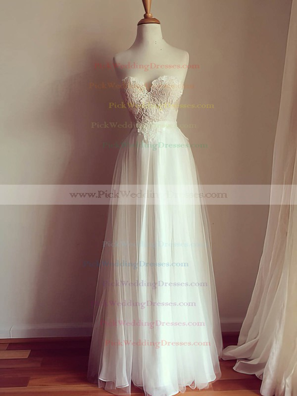 A-line Sweetheart Ivory Chiffon Appliques Lace Open Back Wedding Dresses #PWD00021507