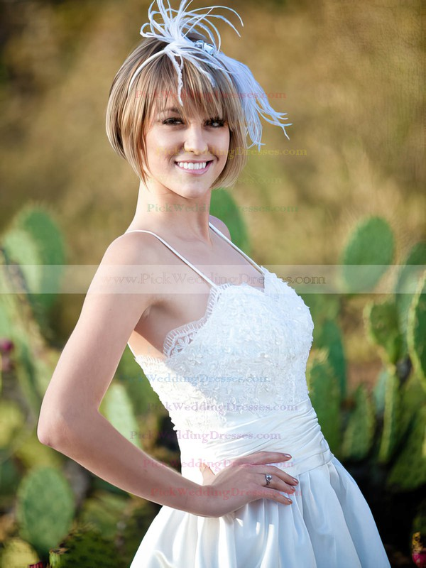 White Elastic Woven Satin with Appliques Sweetheart Straps Tea-length Wedding Dresses #PWD00021508