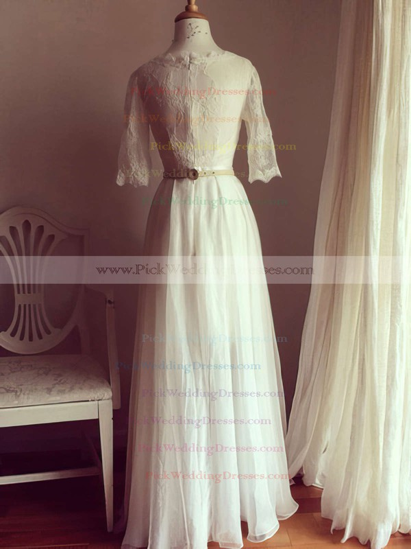 Scoop Neck Chiffon Lace Perfect Ivory 1/2 Sleeve Wedding Dresses #PWD00021511
