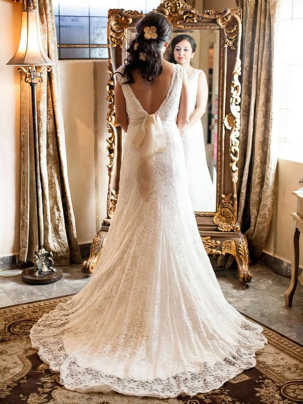 Gorgeous V-neck Ivory Court Train Backless Sashes/Ribbons Lace Wedding Dress #PWD00021513