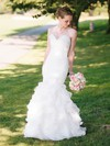 Sweetheart White Tiered Organza Trumpet/Mermaid 2016 Wedding Dress #PWD00021515