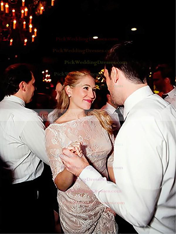 Champagne Lace Scalloped Neck Sheath/Column Fashion 1/2 Sleeve Wedding Dress #PWD00021516
