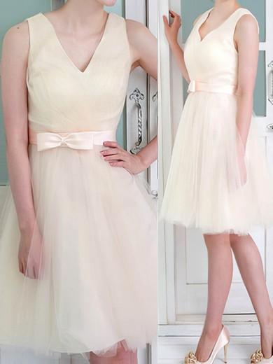 Champagne V-neck Knee-length Tulle with Bow Bridesmaid Dresses #PWD01012105