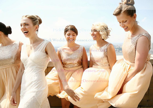 Scoop Neck Sashes / Ribbons Sparkly Chiffon Sequined Knee-length Bridesmaid Dress #PWD01012134
