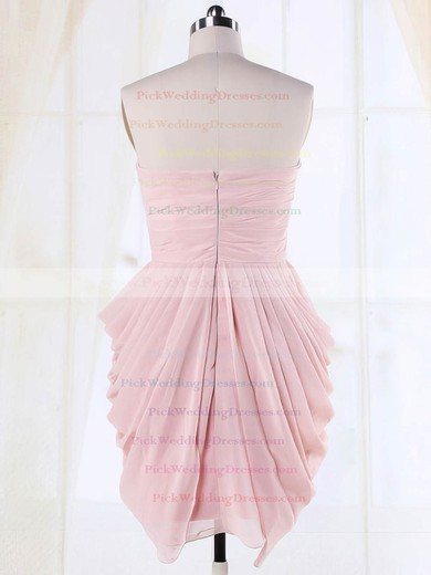 Pink Sheath/Column Wholesale Sweetheart Chiffon Pleats Bridesmaid Dresses #PWD01012135