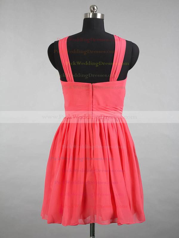 Classy V-neck Chiffon with Ruffles Watermelon Short/Mini Bridesmaid Dresses #PWD01012144