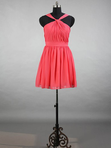 Classy V-neck Chiffon with Ruffles Watermelon Short/Mini Bridesmaid Dresses #PWD01012144
