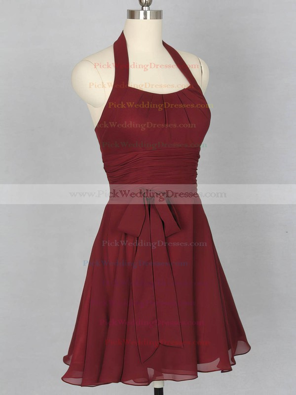 Halter Ladies Short/Mini Sashes / Ribbons Chiffon Bridesmaid Dress #PWD01012151