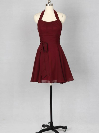 Halter Ladies Short/Mini Sashes / Ribbons Chiffon Bridesmaid Dress #PWD01012151