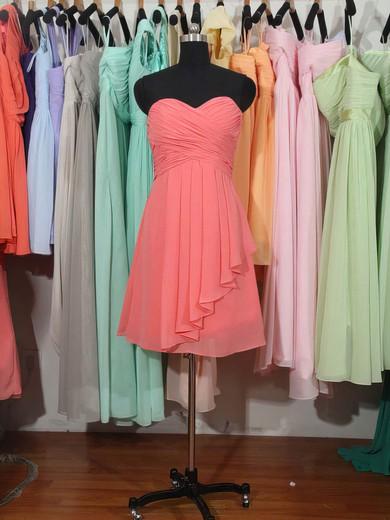 Sweetheart Knee-length Best Chiffon Ruffles Watermelon Bridesmaid Dress #PWD01012179