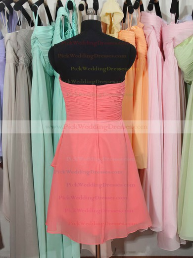 Sweetheart Knee-length Best Chiffon Ruffles Watermelon Bridesmaid Dress #PWD01012179