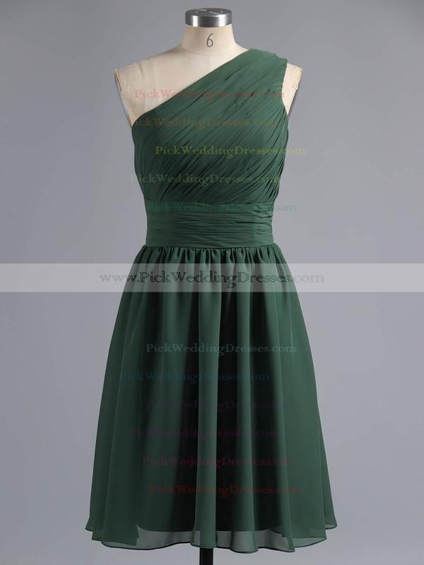 One Shoulder Chiffon Ruffles Online Knee-length Bridesmaid Dresses #PWD01012181