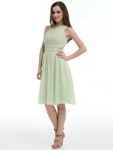 One Shoulder Chiffon Ruffles Online Knee-length Bridesmaid Dresses #PWD01012181