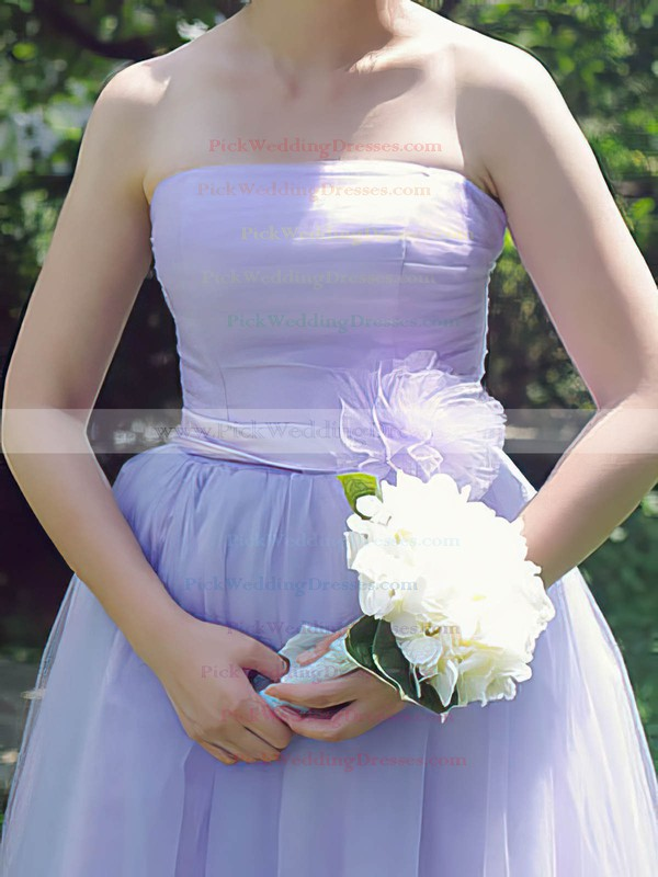 Lilac Ball Gown Elegant Strapless Tulle Sashes / Ribbons Bridesmaid Dresses #PWD01012185