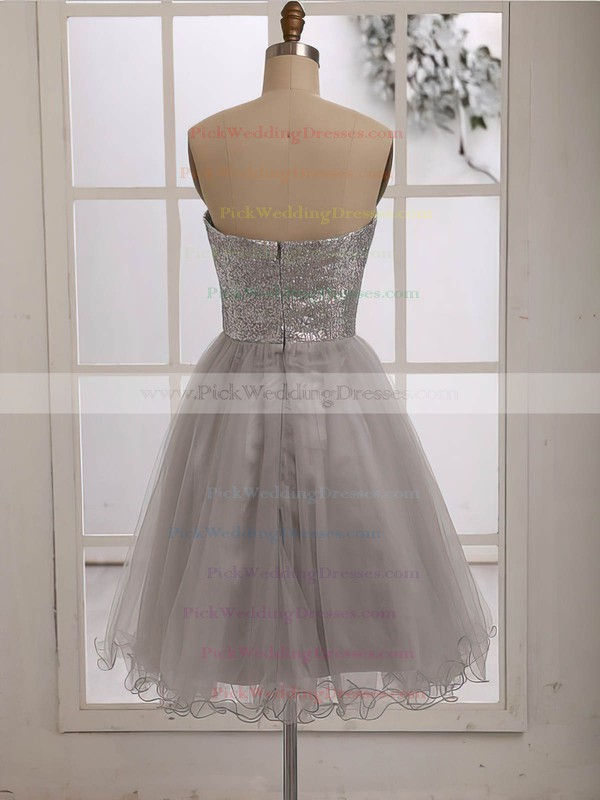 Cheap Tulle Sequined Sweetheart Knee-length Silver Bridesmaid Dress #PWD01012186