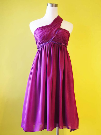 Empire Knee-length Chiffon Draped One Shoulder Bridesmaid Dresses #PWD01012213