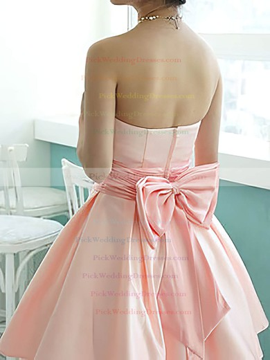 Knee-length Nice Satin with Bow Strapless Bridesmaid Dresses #PWD01012217
