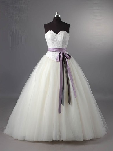 Ball Gown Ivory Lace Tulle Sashes / Ribbon Lace-up Sweep Train Wedding Dress #PWD00011115