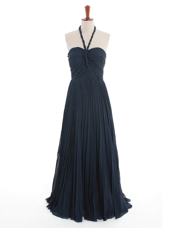 Dark Navy Halter Chiffon Inexpensive Criss Cross Bridesmaid Dress #PWD01012600