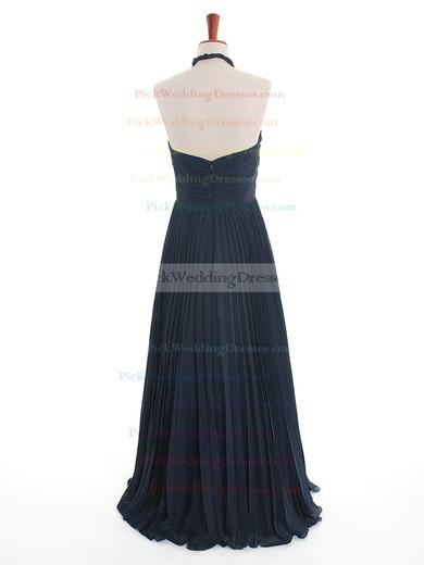 Dark Navy Halter Chiffon Inexpensive Criss Cross Bridesmaid Dress #PWD01012600