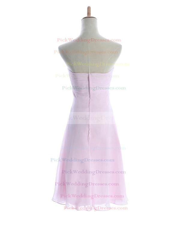 Sheath/Column Knee-length Chiffon Flower(s) Sweetheart Bridesmaid Dresses #PWD01012601