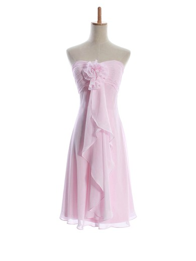 Sheath/Column Knee-length Chiffon Flower(s) Sweetheart Bridesmaid Dresses #PWD01012601