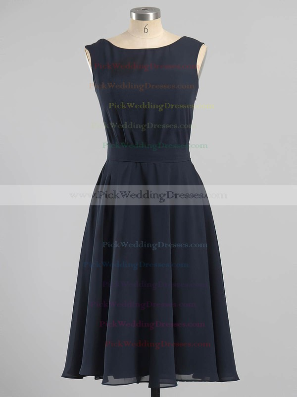 Stunning Tea-length Chiffon Sashes / Ribbons Scoop Neck Bridesmaid Dresses #PWD01012604
