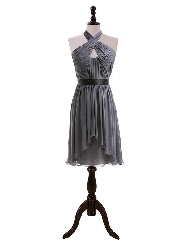Gray Chiffon Knee-length Sashes / Ribbons Gorgeous Halter Bridesmaid Dresses #PWD01012608