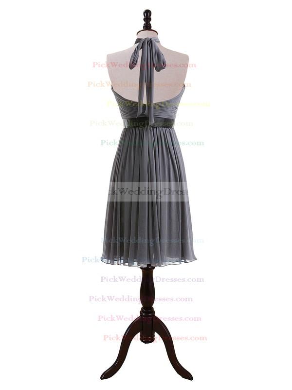 Gray Chiffon Knee-length Sashes / Ribbons Gorgeous Halter Bridesmaid Dresses #PWD01012608