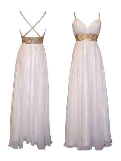 Spaghetti Straps V-neck Chiffon Beading Unique Empire Bridesmaid Dresses #PWD01012615