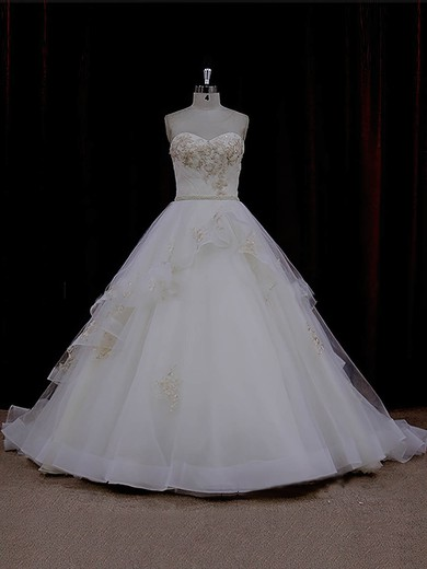 Ivory Chapel Train Tulle Appliques Lace Cheap Sweetheart Wedding Dresses #PWD00021632
