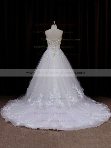 Sweetheart Lace-up Tulle Appliques Lace Chapel Train Ivory Wedding Dresses #PWD00021633